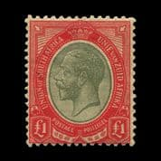 TUT1706 - South Africa KGV £1 - scarce pale olive-green and red. CLICK FOR FULL DESCRIPTION
