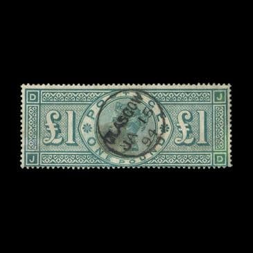 TUT1945 - GB - QV £1 green letters J-D, exceptionally fine used. CLICK FOR FULL DESCRIPTION