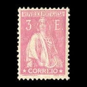 TUT2210 - Portugal - Ceres 3E pink glazed paper Perf 12x11.5 VF. CLICK FOR FULL DESCRIPTION