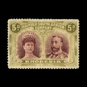 TUT2443 - Rhodesia - KGV 'Double Head' 5d lake-brown & yellow-olive. CLICK FOR FULL DESCRIPTION