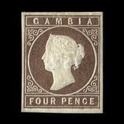 TUT2540 - Gambia - No wmk 'Cameo' 4d. Pale brown, nice shade, fine mint. CLICK FOR FULL DESCRIPTION
