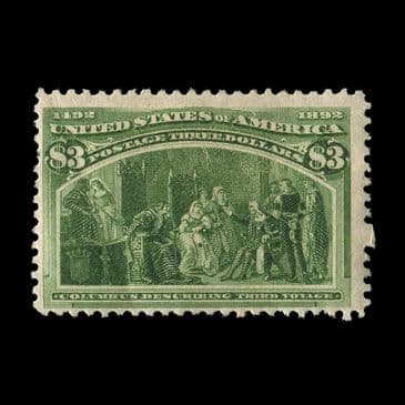 TUT2655 - USA - Columbian Exposition Chicago $3 yellow-green fine mint. CLICK FOR FULL DESCRIPTION