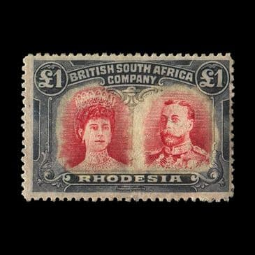 TUT2720 - Rhodesia - KGV P14 'Double Head' £1 rose-scarlet & bluish. CLICK FOR FULL DESCRIPTION