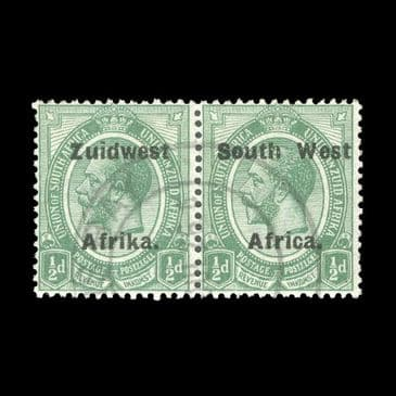 TUT2860 - South West Africa - KGV ½d green, setting VI ½d green fine used horizontal pair