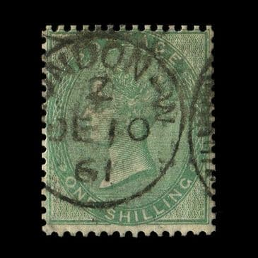 TUT2898 - GB - QV no corner letters 1s. Deep Green, superb almost socked on the nose (SON) LONDON