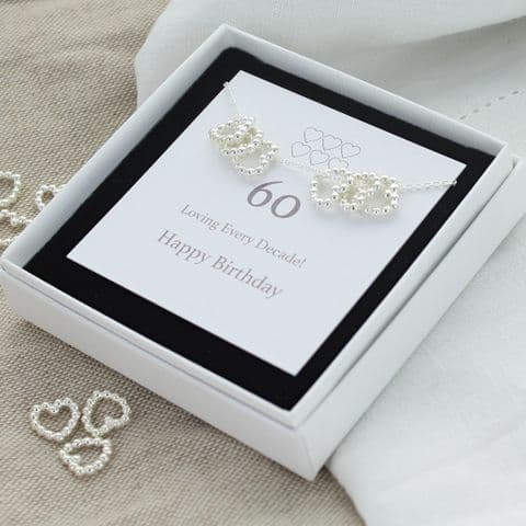 60th Birthday heart necklace