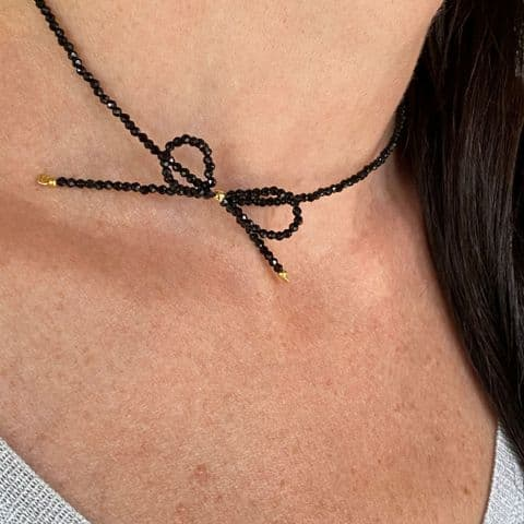 Beaded Bow Necklace
