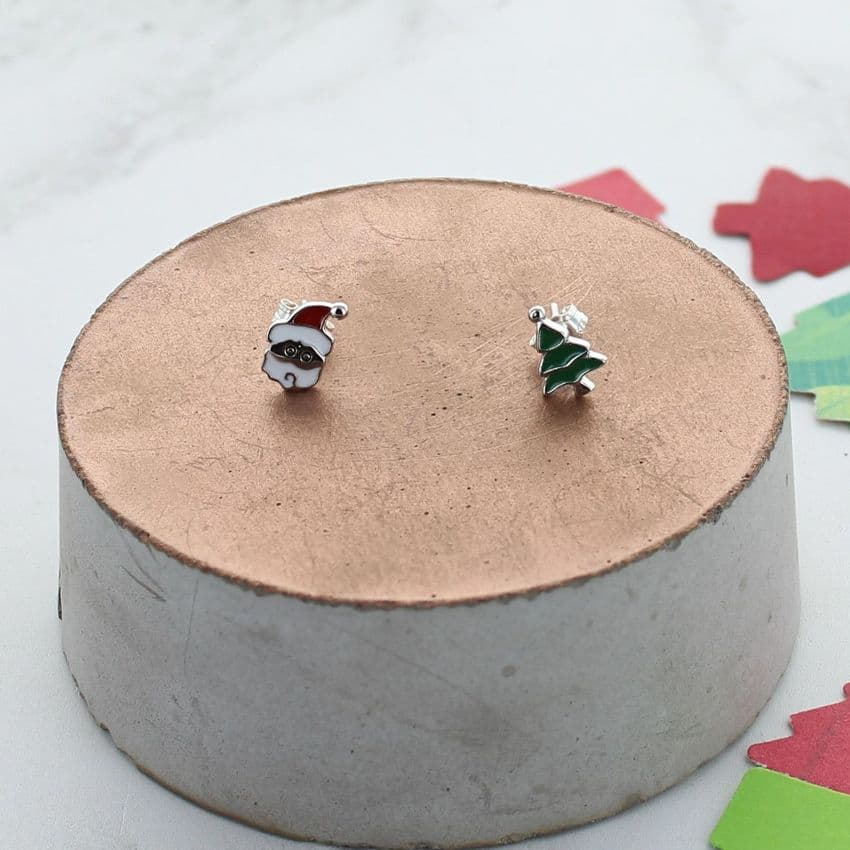 Christmas Enamel Mismatch Earrings