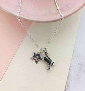 Cowboy Personalised Star Charm Necklace