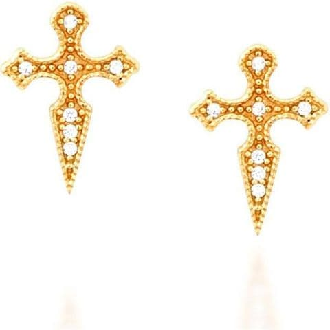 Cross gold vermeil stud earrings