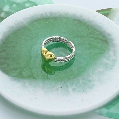 Gold and silver heart adjustable ring