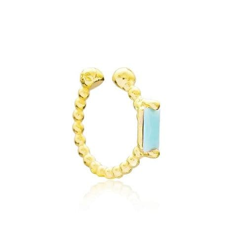 Gold Aquamarine ear cuff