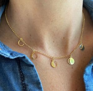 Gold Charm Moon Phase Necklace