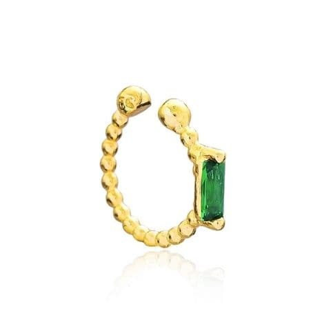 Gold Emerald ear cuff