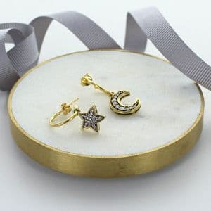 Gold Moon And Star Crystal Hoops