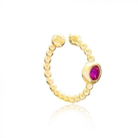 Gold ruby ear cuff