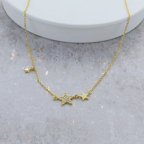 Gold Star Cubic Zirconia Necklace