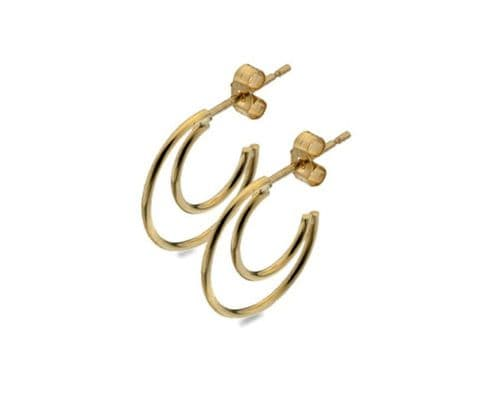 Half moon hoop stud earrings