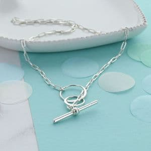 Infinity Link Toggle Bar Necklace