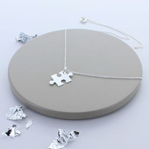 Jigsaw Piece Sterling Silver Necklace
