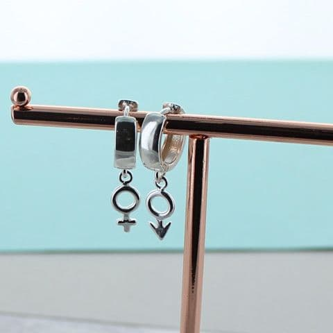 Male Female Symbol Silver Hoops