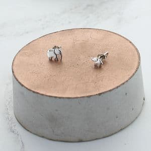 Mummy And Baby Elephant Stud Earrings