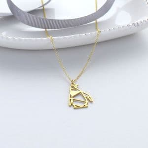 Origami Penguin Necklace Golds