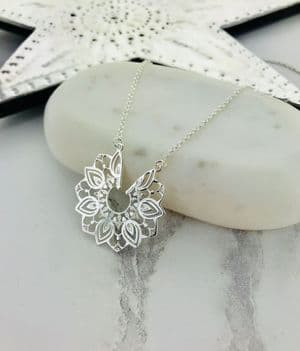 Ornate Sterling Silver Disc Necklace