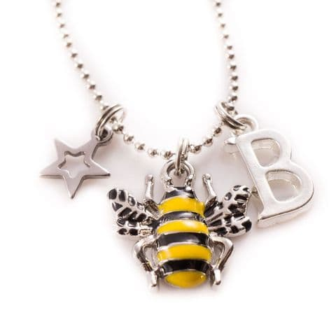 Personalised Enamel Bee Charm Necklace