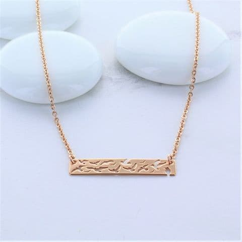 Rose Gold Bird Bar Necklace