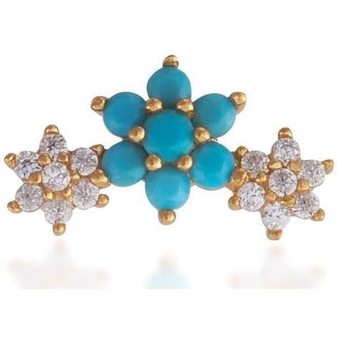 Single 3 flowers gold vermeil turquoise & white stones stud earring