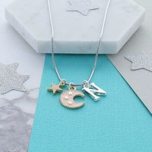 Star And Moon Personalised Charm Necklace