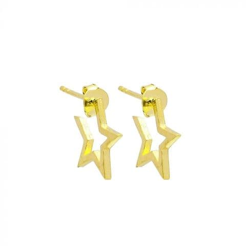 Star hoops small gold