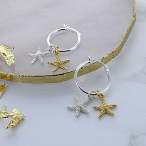 Starfish Gold And Silver Hoop Earrings