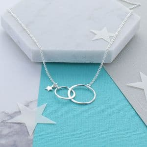 Sterling Silver Infinity Link Star Necklace