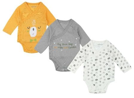 Baby BOYS Organic Cotton 3 PACK Long Sleeve Bodysuits Pack of 15 - £3.30