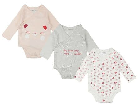 Baby GIRLS Organic Cotton 3 PACK Long Sleeve Bodysuits Pack of 15 - £3.30