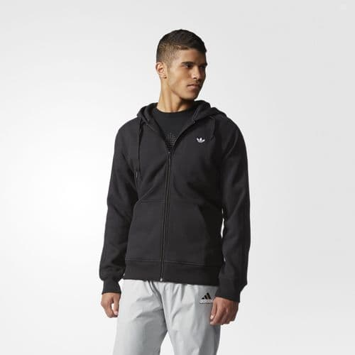 Adidas Originals Trefoil Classic Mens Full Zip Hooded Sweatshirt Black