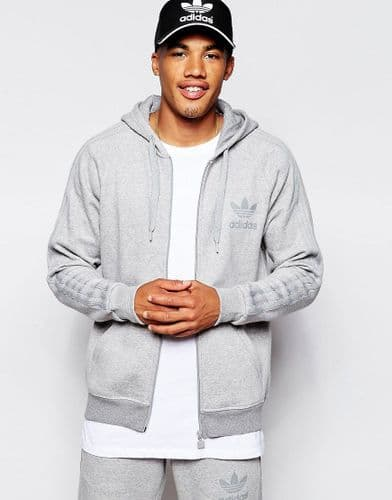 Adidas Originals Trefoil Full Zip Mens Hooded Sweatshirt Grey