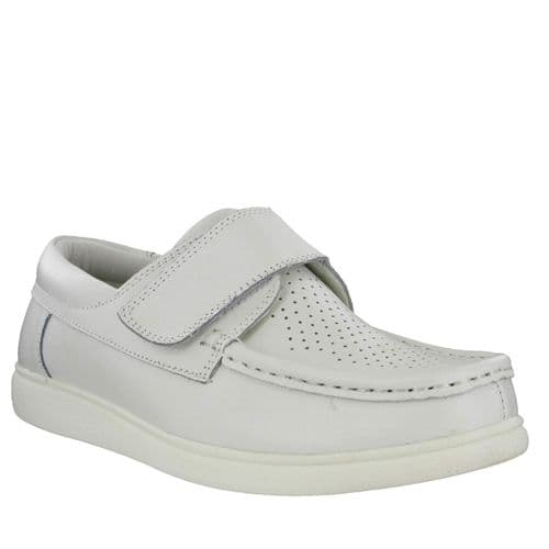 Dek Leather White Bowling shoes - Touch Fastening