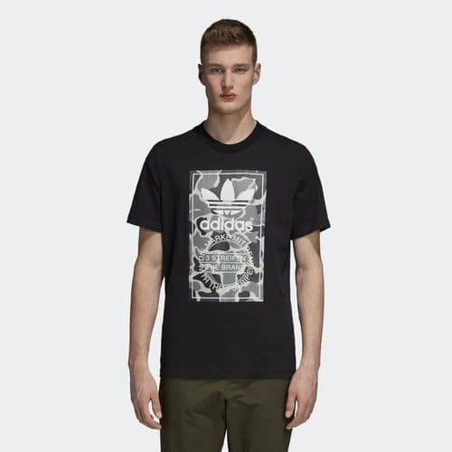 Adidas Originals Camouflage Tongue Label Tee Mens T-Shirt Black