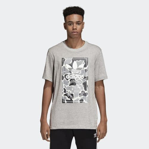 Adidas Originals Camouflage Tongue Label Tee Mens T-Shirt Grey