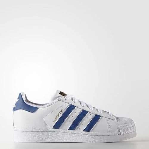 Adidas Originals Superstar Foundation Kids Junior Sneaker Sports Casual Trainer Shoes White Blue