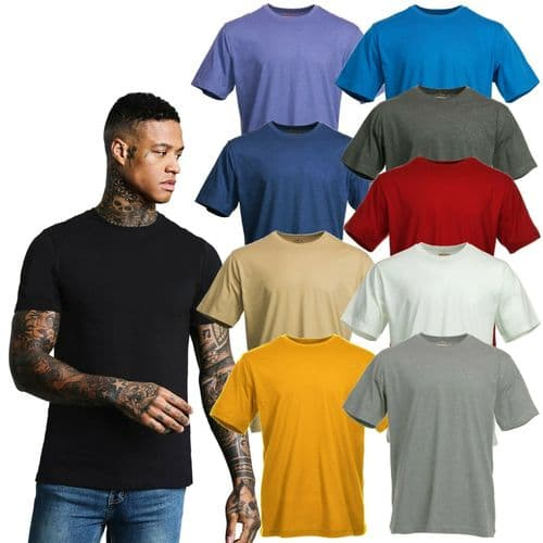 Blue Mountain Basics Men's Short Sleeve Plain Casual Cotton Tee Shirt