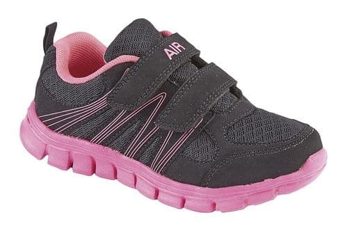 Dek Air Sprint Superlight Kids Girls Sports Casual Trainer Shoes Black Pink