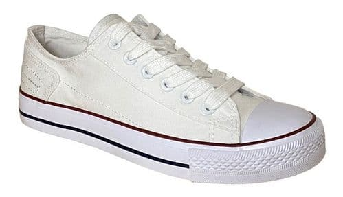 Dek Plimsol Canvas Sports Casual Womens Trainer Shoes White