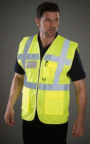 Grafters Hi Visibility Executive Waistcoat Jacket Fluo Yellow