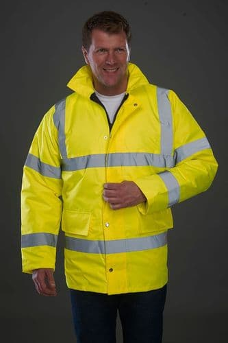 Grafters Hi Visibility Waterproof Motorway Heavy Duty Hooded Jacket Fluo Yellow