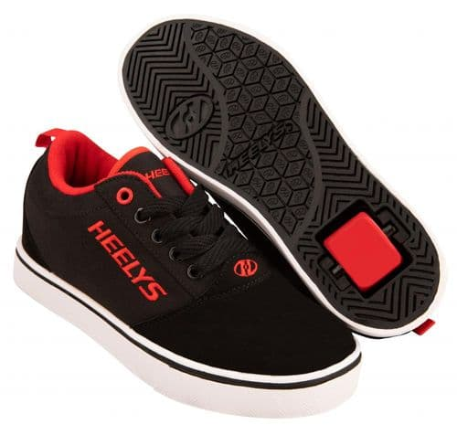 Heelys Pro 20 Boys Wheels Skating Shoes Black/Red/Nubuck HE100934