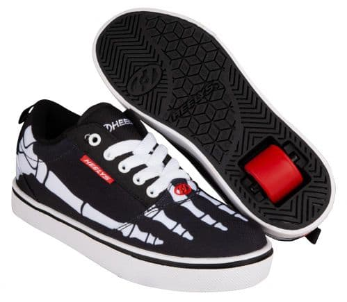 Heelys Pro 20 Prints Boys Wheels Skating Shoes Black/White/Red/Skeleton HE100890